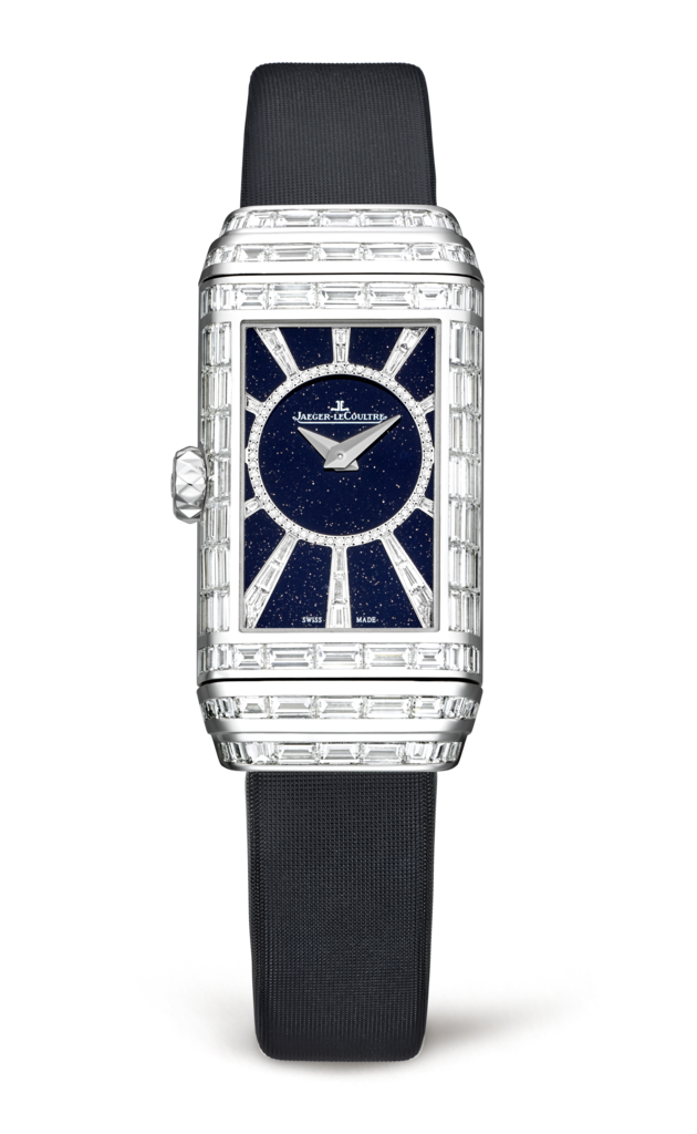 Women's Jaeger-LeCoultre Reverso One High Jewelry Fake Watches With Black Satin Straps