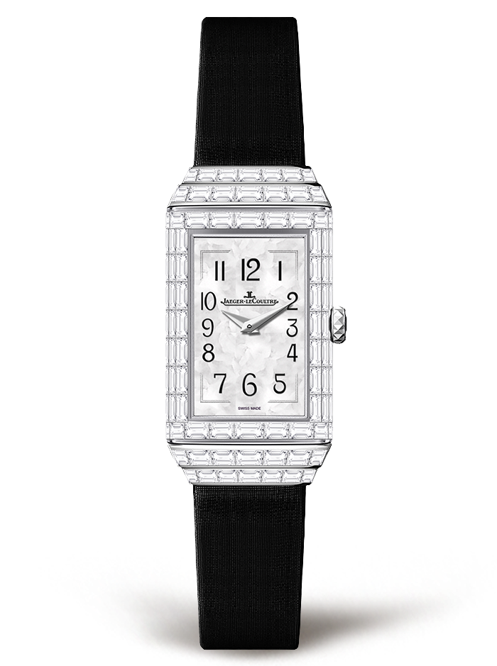 Women's Jaeger-LeCoultre Reverso One High Jewelry Replica Watches With Black Satin Straps